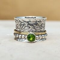 Peridot Ring 925 Sterling Silver Spinner Ring Meditation Statement Jewelry A149