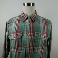 Eddie Bauer Mens Classic Fit LS Button Down Teal Red Plaid Casual Shirt XLT Tall