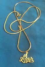 Charm With A Chain Necklace Gold Tone #1 Lover Small Pendant