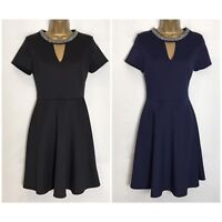 Dorothy Perkins Stretch Scuba Fit & Flare Dress 2 Colours Sizes 8 - 18 (dp-24h)