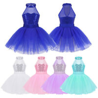 UK! Girls Sequined Halter Ballet Dance Dress Tutu Leotard Lyrical Latin Costume
