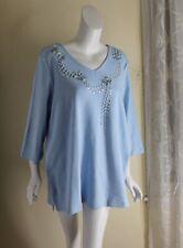 New Quacker Factory -Sz 2X Blue Jeweled Art-to-Wear Cotton Knit 3/4 T-Shirt Top
