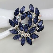 Stunning Silver Plated Dark Blue Crystal Vintage Inspired Statement Brooch