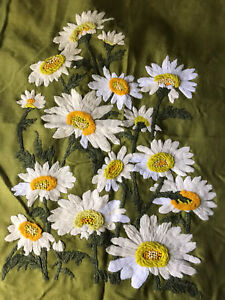 Vintage 70s embroidered daisies tapestry Textile Art Wall Art Original Handmade