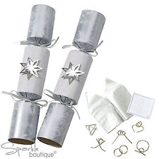 Christmas crackers in main coloursilver ebay luxury silver star christmas crackers x 6 with metal puzzles inside xmas game solutioingenieria Images