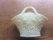 Antique Victorian Pressed Glass Basket 5 inches Opalescent Yellow tinge