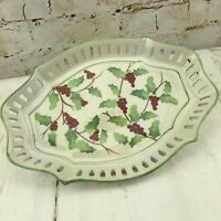 Server Tray Christmas Holly & Berrie Scalloped Winter Home Decor Andrea by Sadek