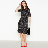 Womens Principles Debenhams Black Ivory Petite Floral Skater Fit & Flare Dress