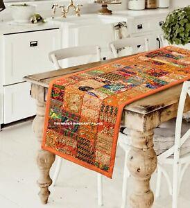 Exquis Indien Brodé Chemin de Table ou Mural Suspendu Coton Long Coloré