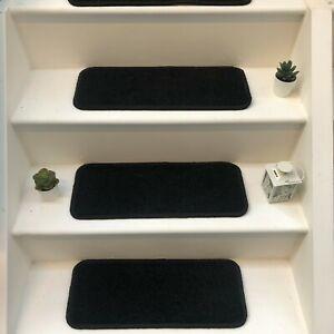 14 x Carpet Stair Case Treads Stain Free  Pads 14 Large Pads (fairway dark grey)