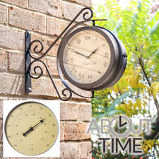 Outdoor Bracket Garden Swivel Clock Thermometer Outside Station Ornate Easy Read