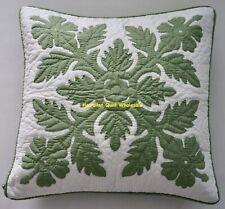 1 Hawaiian quilt handmade hand quilted/appliquéd cushion pillow cover CELADON