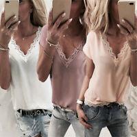 Women V Neck Summer Chiffon Short Sleeve Casual T-Shirt Tops Blouse Tee Shirt