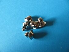 5, Twist Pin Badge Backs / Fixings / Clutch / Clasp / Clip.  SILVER Colour.