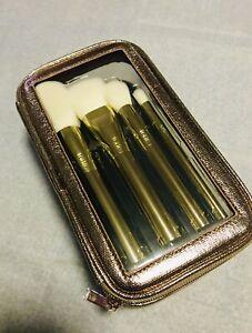TARTE Gold Dusters Brush Set Makeup Bag NEW 5 Piece Travel Case Vegan