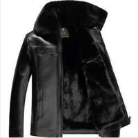 Mens Sale fur collar patent leather zipper jackets winter warm coat faux leather
