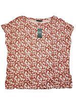 Lauren Ralph Lauren Womens T-Shirt Xlarge XL Red White Floral Boat Neck