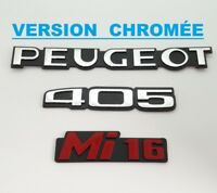 ⭐🇫🇷 NEUF KIT 3 MONOGRAMMES PEUGEOT 405 Mi16 PHASE 2 CHROME LOGOS BADGES NEW