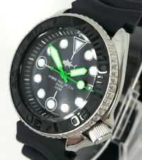 Seiko Diver Watch 7002 Quartz - Ceramic Stealth bezel - Neon green hands  - 1136