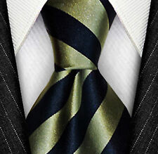 7 Fold Silk Necktie ❤ Green & Blue Stripe Big Knot tie ❤ Ties a perfect knot