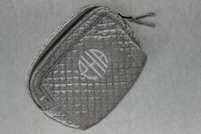 """Pottery Barn Travel Gray/Silver Quilted Velvet Cosmetic MakeUp Bag Nwot """"eHa"""""""