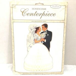 HoneyComb Bride and Groom Stand Up Wedding Centerpiece Table Top New In Package