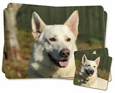 White German Shepherd Twin 2x Placemats+2x Coasters Set in Gift Box, AD-WGSD1PC