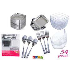 Set Antipasto 54 pz Finger Food Plastica Trasparente Buffet Accessori Silver