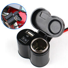 Motorcycle USB Waterproof Cigarette Charger Adapter + Switch Car Cigar Lighter