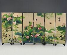 ORIENTAL LACQUER HANDWORK OLD PAINTING LOTUS WRITING WORDS SIX FOLD SCREEN DECO