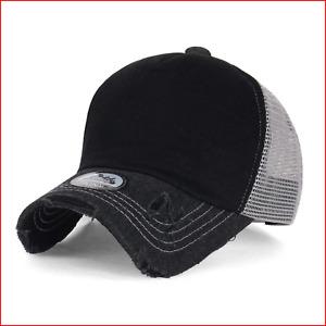 ililily Black Vintage Distressed Mesh Snapback Blank Trucker Hat Baseball Cap,