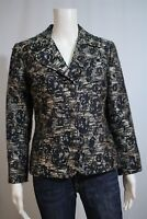 Chico's Misses 0 SMALL 4  Silver Black Floral Tailored Suit Blazer Jacket