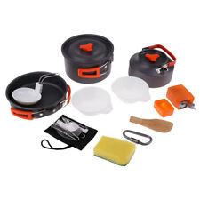 Camping Hiking Tableware Cookware Kit BBQ Cooking Bowl Pot Pan Gas Stove Set