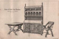 Suite of solid oak furniture; designed by J.H. Banks. Decorative 1868 print