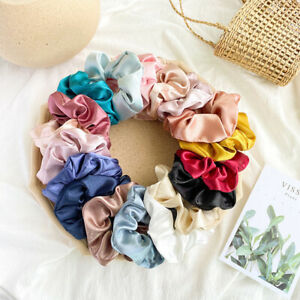 8X Satin Silk Scrunchie Elastic Hair Bands Women Scrunchy Hair Ropes Rings Set/
