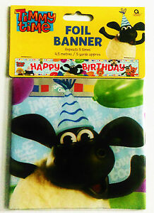 Timmy Time Banner Happy Birthday Children's Party Foil Decoration - 4.5cm long