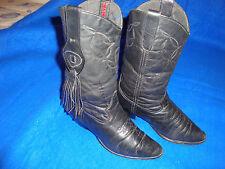 Womens Laredo Sz 6 M Black Leather Fringe Detail Cowboy Boots #74899