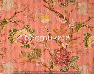 Indian Handmade Queen Kantha Quilt Throw Cotton Blanket Floral Print Boho Quilt