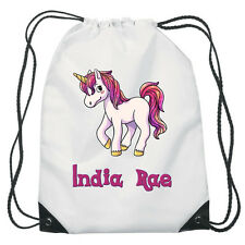 Colourful Unicorn Drawstring PE Bag Personalised swimming shoes Gym