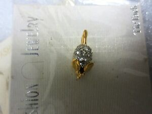 """Fashion pin gold Metal in color w/clear rhinestonese mouse 3/4"""" long 1/4 width"""