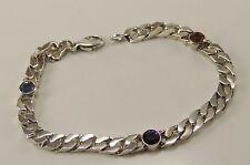 Silber Armkette mit Topas & Amethyst & Catrin / 925er Silber
