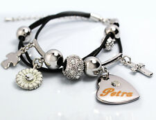 Genuine Braided Leather Charm Bracelet With Name - PETRA - Gifts for her