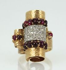 And Platinum Diamond Ring 4.49 Tcw Awesome Deco Retro 1930'S Ruby Cabochon 14K