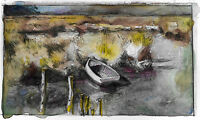 Peruvian Watercolor Nautical Boat Landscape Painting Art 5x3 Home Decor