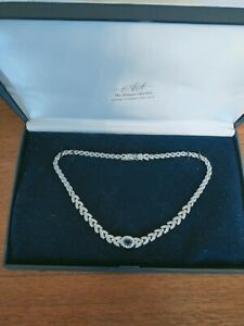ATTWOOD & SAWYER Stunning Silver Rhinestone & blue Crystal Necklace in Box