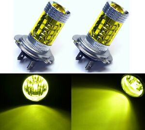 LED 80W H7 Yellow 3000K Two Bulbs Fog Light Replacement Show Use Lamp Plug Play