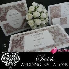 Vintage Dusk Damask Engagement Anniversary Wedding Invitations DL SAMPLE
