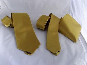 """Mens Gold Tie-Neckties Classic 3.3""""=8cm OR Skinny 2.5""""=6cm Width-Hankie OR  Sets"""