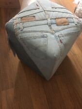 Funky Denim Levi Jeans FOOTSTOOL Pouffe STOOL New