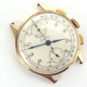 18K Gold Breitling Chronograph Ref. 178 Wrist Watch Head Man's NOT Running
